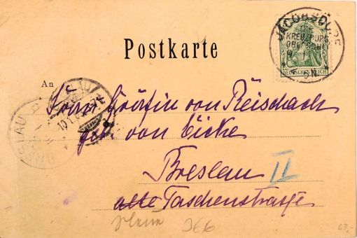 POSTCARD - MAILED TO BRESLAU-AREA CITY NEAR MANFRED VON RICHTHOFEN'S HOME