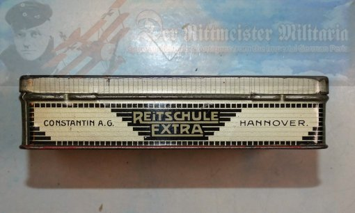 CIGARETTE TIN - CONSTANTIN BRAND - REITSCHULE EXTRA - FIFTY CIGARETTES - Imperial German Military Antiques Sale