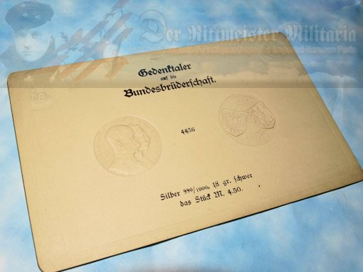 IMPERIAL GERMAN 4.5 MARK COIN IMPRESSION CARD - KAISER WILHELM II AND KAISER FRANZ JOSEF - Imperial German Military Antiques Sale
