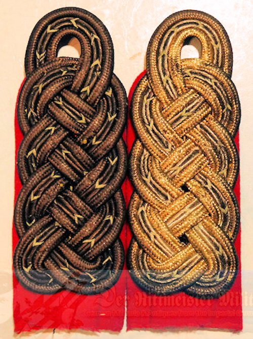 PRUSSIA - SHOULDER BOARDS (2) - GENERALMAJOR ZU DISPOSITION - ONE PRE WAR & ONE M-1915 SUBDUED FELDGRAU