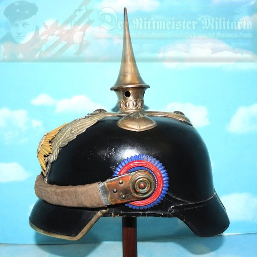 OLDENBURG - PICKELHAUBE - OFFICER - DRAGONER-REGIMENT NR 19 - CANVAS CHINSCALE COVERS - Imperial German Military Antiques Sale