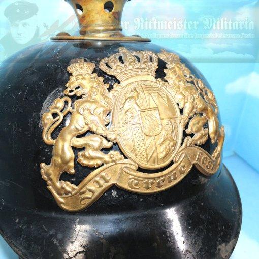 BAVARIA - PICKELHAUBE - ENLISTED MAN - METAL - Imperial German Military Antiques Sale