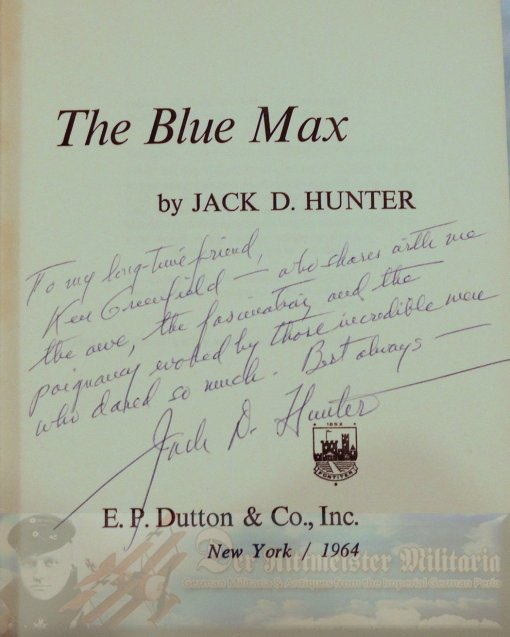 GERMANY - BOOK - THE BLUE MAX - JACK D. HUNTER - FIRST EDITION - Imperial German Military Antiques Sale