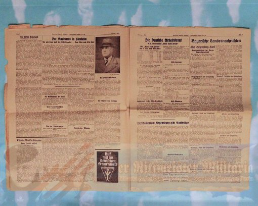 """NEWSPAPER - FEATURING THE CRASH OF THE ZEPPELIN """"HINDENBURG"""" - 8 MAY 1937 - Imperial German Military Antiques Sale"""