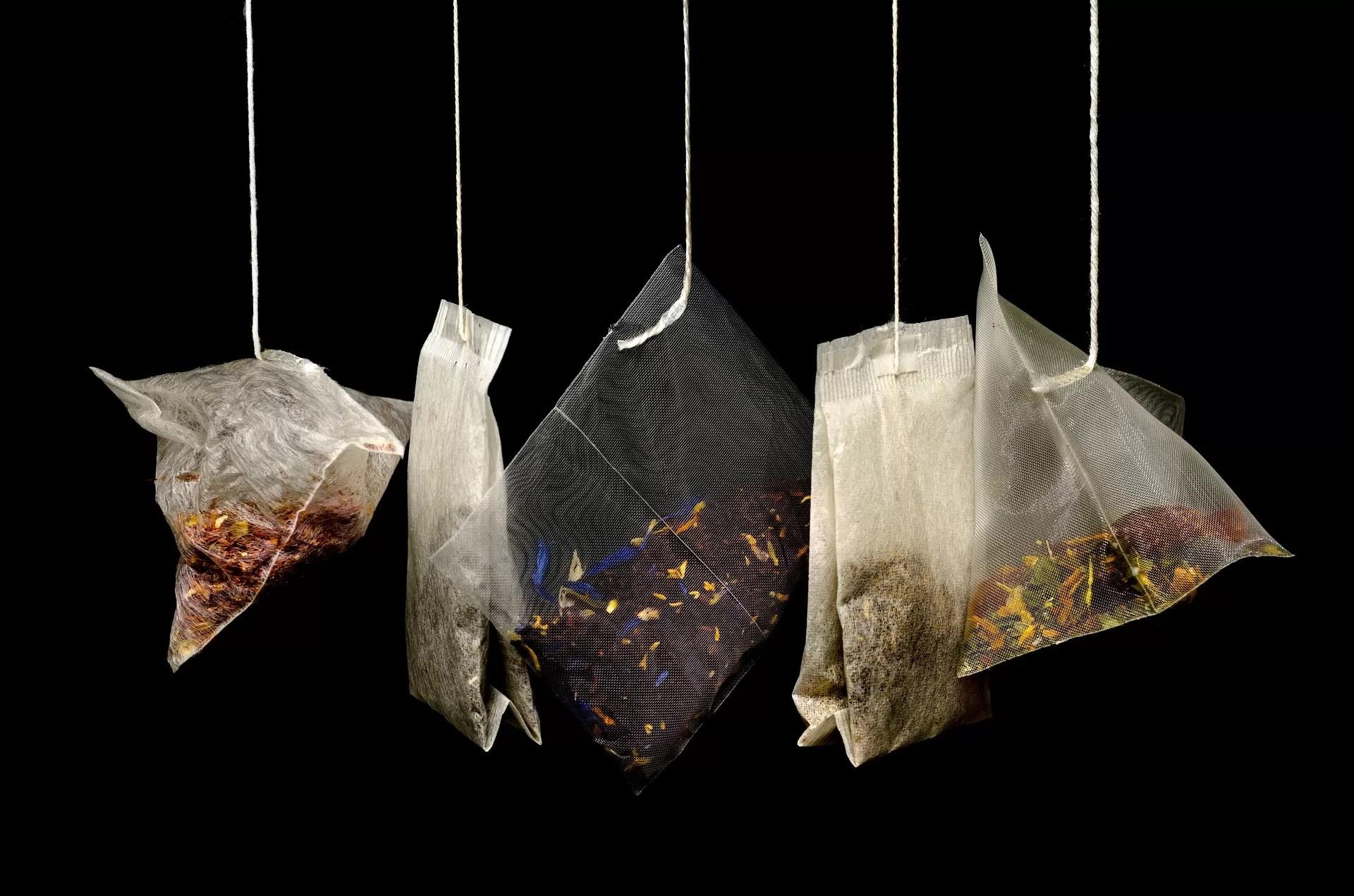 filtri in cotone di diversi tipi di tè