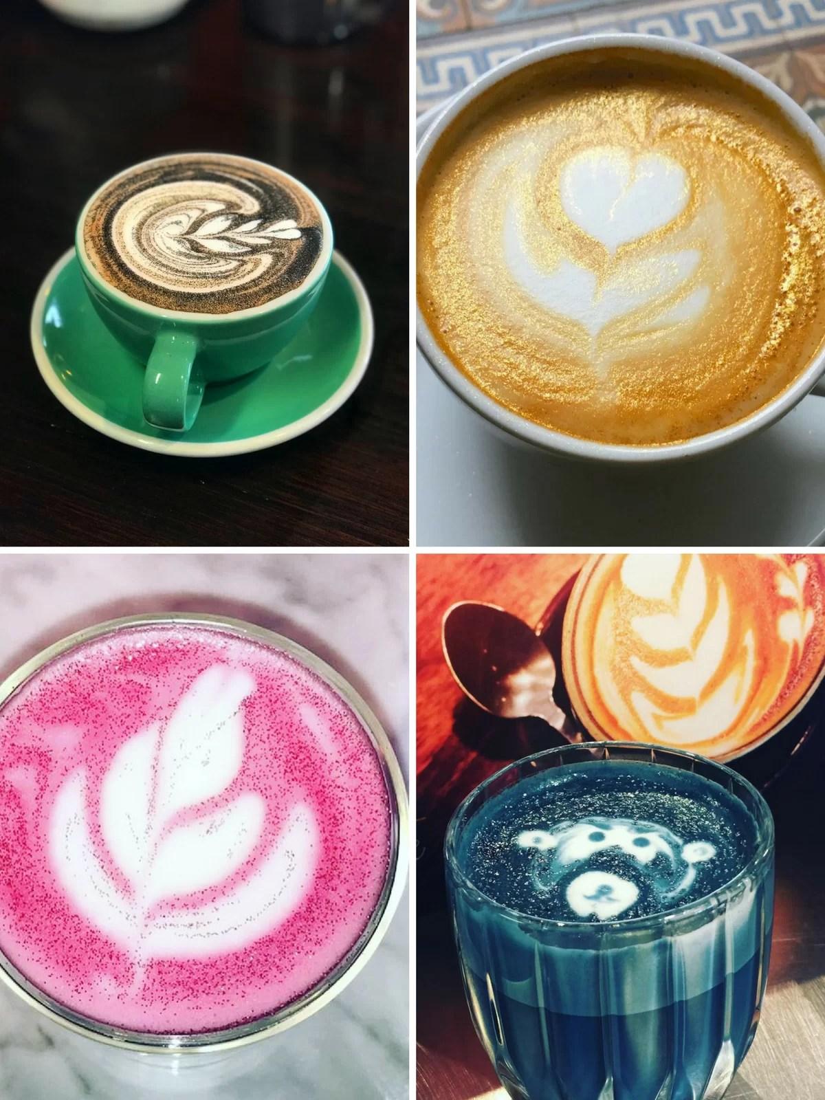 glitter coffee e glitter cappuccino colorato instagram idee rosa blu oro