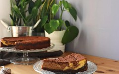 Cheesecake di ricotta variegata al caffè e cioccolato