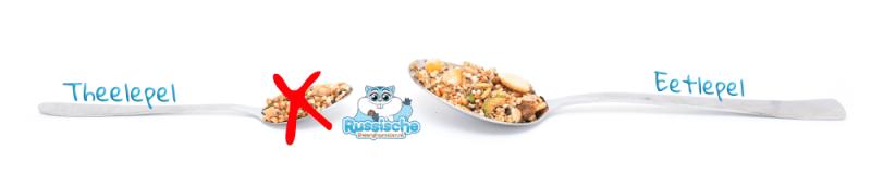 theelepel voer en eetlepel hamstervoer voor russische dwerghamster