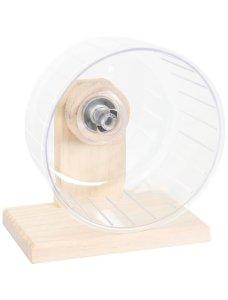 foto van een hamster looprad van plastic en hout