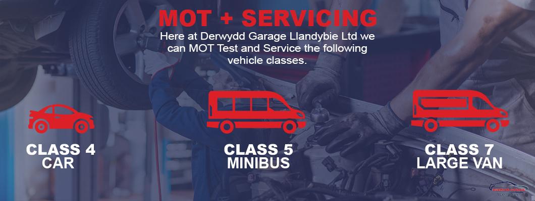 Derwydd garage Llandybie vehicle service MOT class 4 5 7