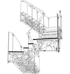 genetic stair section perspective drawing [ 938 x 1213 Pixel ]