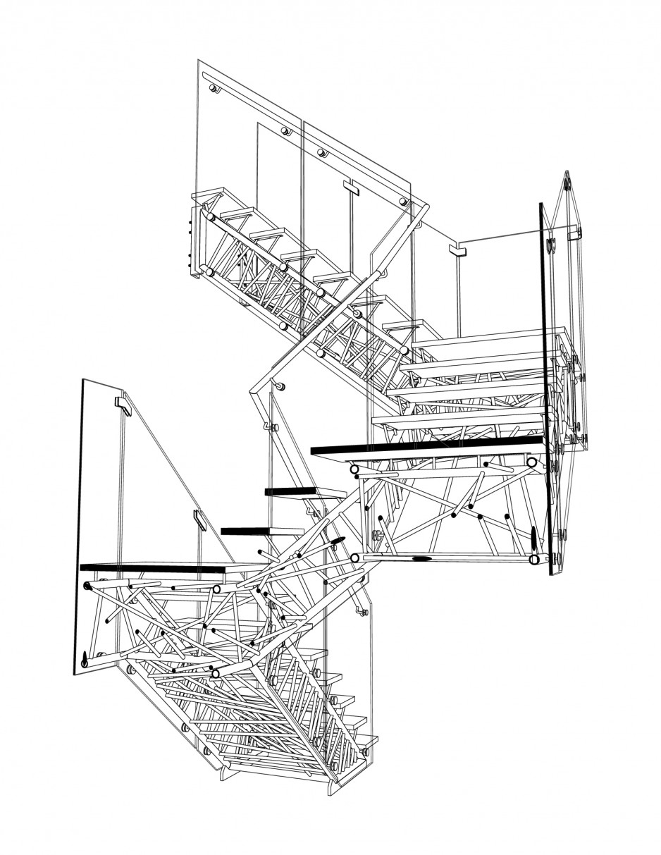 hight resolution of genetic stair section perspective drawing