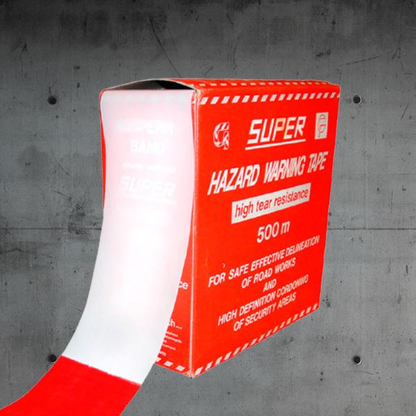 Absperrband,absperrband reißfest,absperrband rot-weiß,absperrband; L 500m x B 8cm,rot-weißes absperrband DESABAG