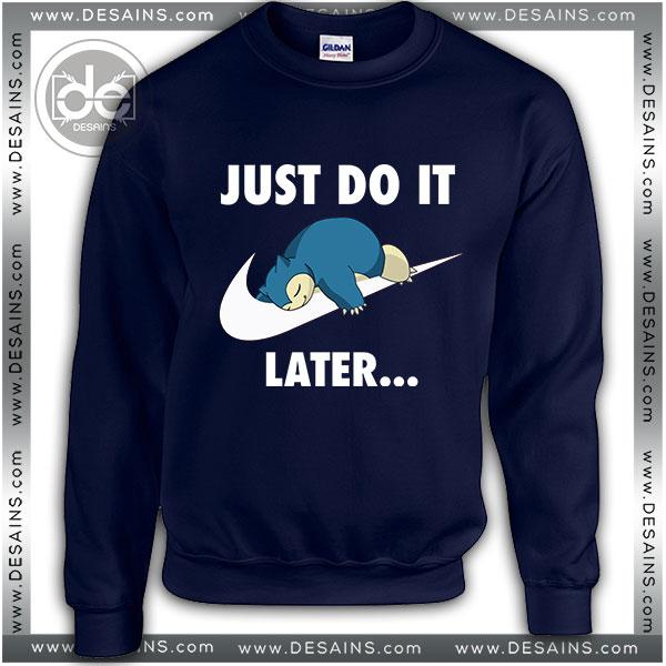 Sweatshirt Just DO It Snorlax Sleep Pokemon Sweatshirt Womens Mens Navy Blue