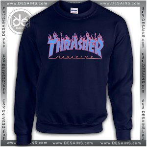 Buy Sweatshirt Thrasher Fire Blue Sweater Womens and Sweater Mens