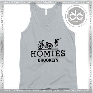 Cheap Graphic Tank Top Homies Brooklyn Logo Hermes Parody