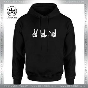 Cheap Graphic Hoodie Peace, Love, Death Metal