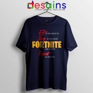 Cheap Tshirt Eat Sleep Fortnite Repeat Tee Shirts Navy Blue