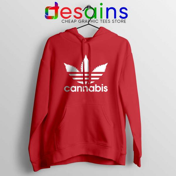 Hoodie Cannabis Leaf Adidas Cheap Hoodies Funny Parody Red