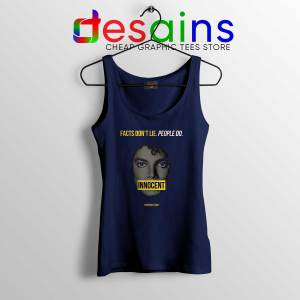 Michael Jackson Innocent Tank Top Facts Don't Lie People Do Navy Blue