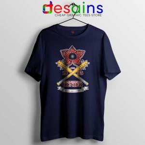 Tee Shirt Stranger Things Season 3 Demogorgon Hunter Navy Blue Tshirt