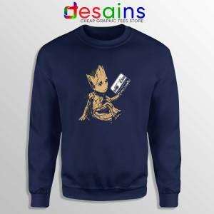 Buy Sweatshirt Groot Guardians Of The Galaxy Crewneck Navy Blue