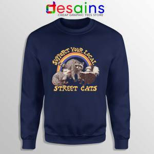 Buy Sweatshirt Street Cats Support Your Local Navy Blue Sweater