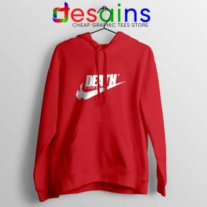 Death Just Do It Red Hoodie Japanese Nike Parody Hoodies Unisex