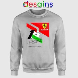 Charles Leclerc Signature Sport Grey Sweatshirt Driver Scuderia Ferrari Sweater