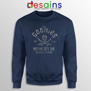 Goonies Never Say Die Navy Sweatshirt Rock Band Merch Sweater