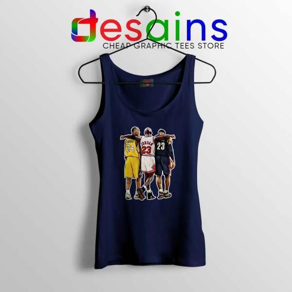 Kobe Bryant x Michael Jordan x Lebron James Navy Tank Top NBA Shirt