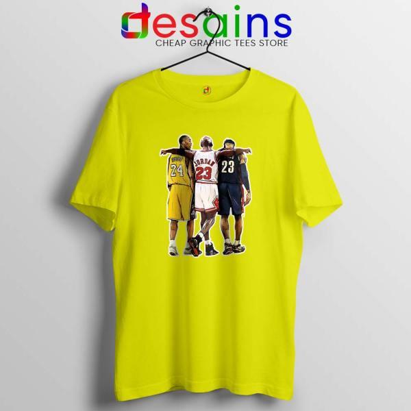 Kobe Bryant x Michael Jordan x Lebron James Yellow Tshirt Cheap Tees Shirts