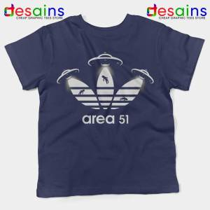 Area 51 Adidas Navy Kids Tshirt Merch Area 51 Youth Tee Shirts S-XL