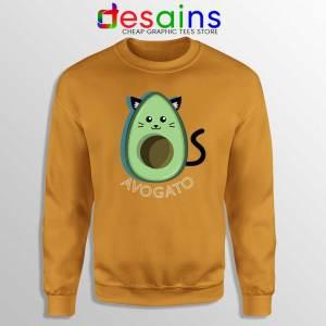 Avogato Avocado Orange Sweatshirt Funny Avocado Cat Sweater S-3XL