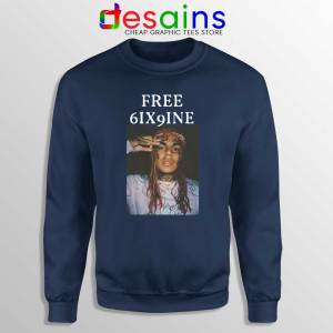 Free 6ix9ine Navy Sweatshirt Tekashi 6ix9ine Sweater Size S-3XL