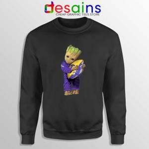 Groot I Love Baltimore Ravens Black Sweatshirt Guardians of the Galaxy NFL