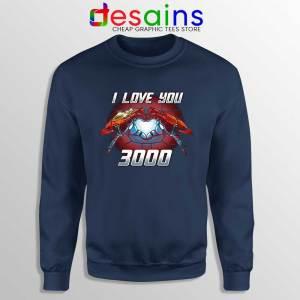 I Love You 3000 Endgame Navy Sweatshirt Iron Man Sweater S-3XL