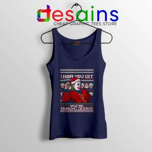 Joker Ugly Christmas Navy Tank Top I Hope You Get What You Deserve Tops