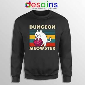 Dungeon Meowster DnD Sweatshirt Cat Gamer D20 Sweater S-3XL