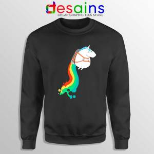 Funny Fat Unicorn Sweatshirt Unicorn on Rainbow Jetpack Sweater S-3XL