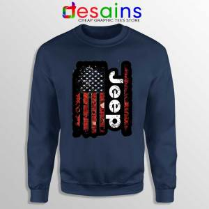 USA Flag Jeep Navy Sweatshirt American Jeep Sweater S-3XL