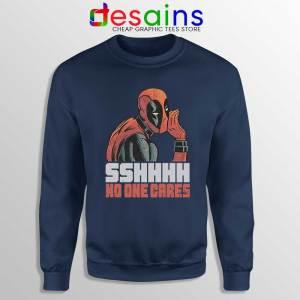 Deadpool No One Cares Navy Sweatshirt Funny Deadpool Sweaters