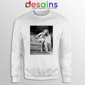 Blonde Bombshell Marilyn Monroe White Sweatshirt Playboy Girls Sweaters