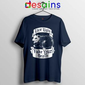 Live Ugly Fake Your Death Navy Tshirt Mouse Rat Tee Shirts S-3XL