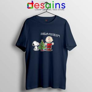 Snoopy And Charlie Brown Christmas Navy Tshirt Holiday Gifts Tees