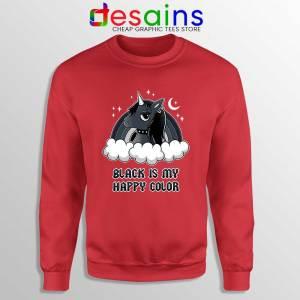 Unicorn Black Lives Matter Red Sweatshirt Black is My Happy Color