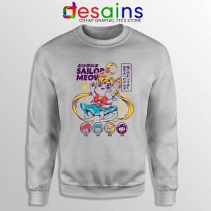 Sailor Moon Meow Sport Grey Sweatshirt Funny Sailor Cat Sweaters