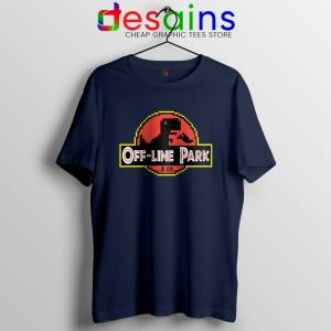Off Line Park Navy Tshirt Jurassic Park T-Rex Dinosaur Tee Shirts