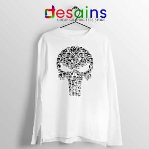 Punisher Skull Symbol White Long Sleeve Tshirt The Punisher Logo Tees