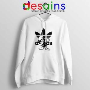 Snoopy Dab Three Stripes White Hoodie Funny Adidas Dog Jacket